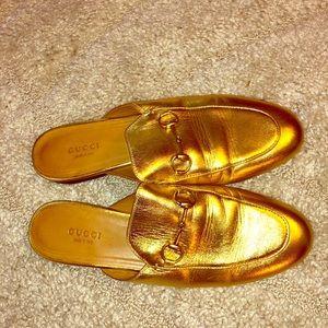 Gucci Princetown Mettalic Gold mule